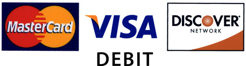 We accept all Visa, MasterCard & Discover Debit Cards